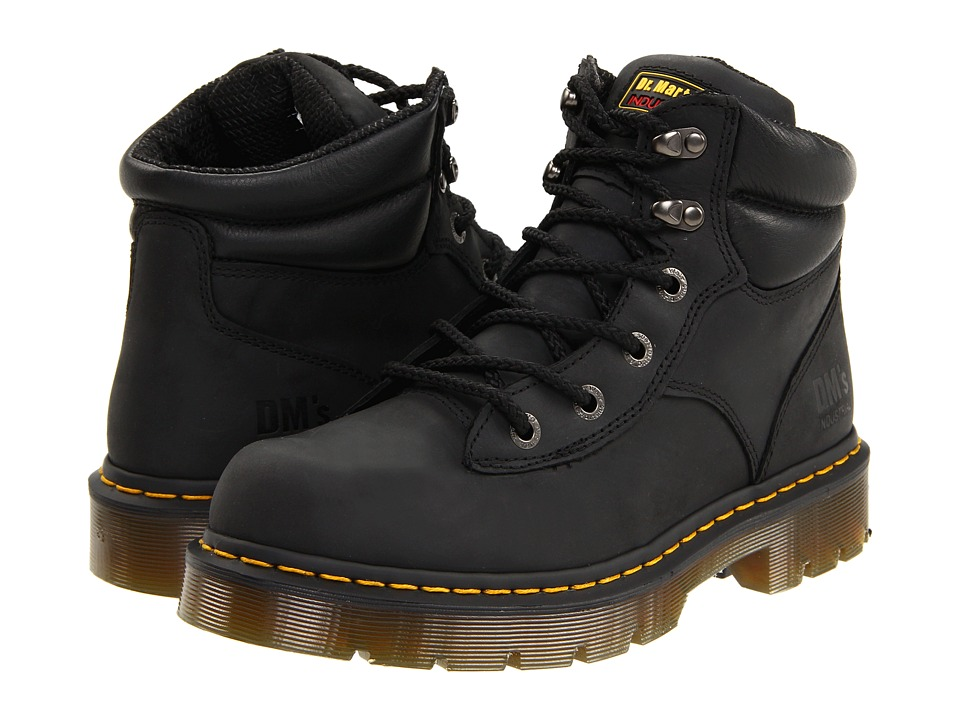 Dr. Martens Work Burnham NS 6 Tie Boot (Black Industrial Greasy) Work Lace-up Boots