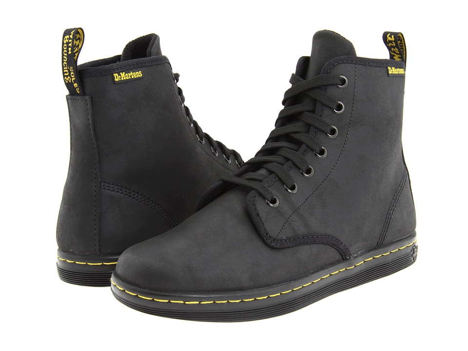Dr. Martens - Shoreditch (Black Greasy Lamper/Suede) Women's Lace-up Boots