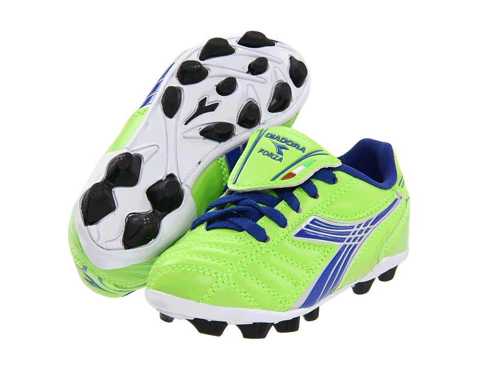 Diadora Kids - Forza MD Jr Soccer (Toddler/Little Kid/Big Kid) (Lime Green/Dark Royal) Kids Shoes