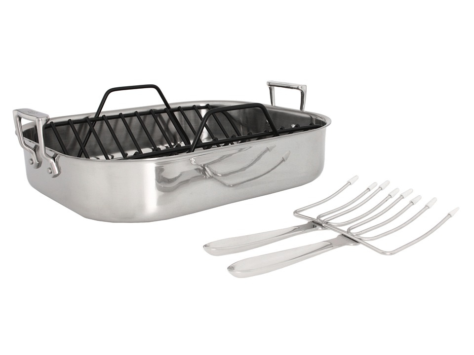 All-Clad - Large Roti Combo With Rack And Turkey Forks (Stainless Steel) Individual Pieces Cookware