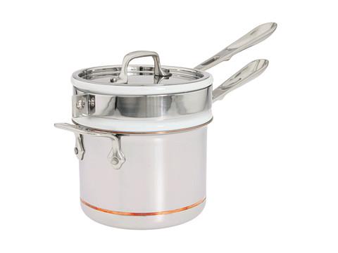 All-Clad Copper-Core 2 Qt. Sauce Pan With Porcelain Double Boiler (White) Individual Pieces Cookware