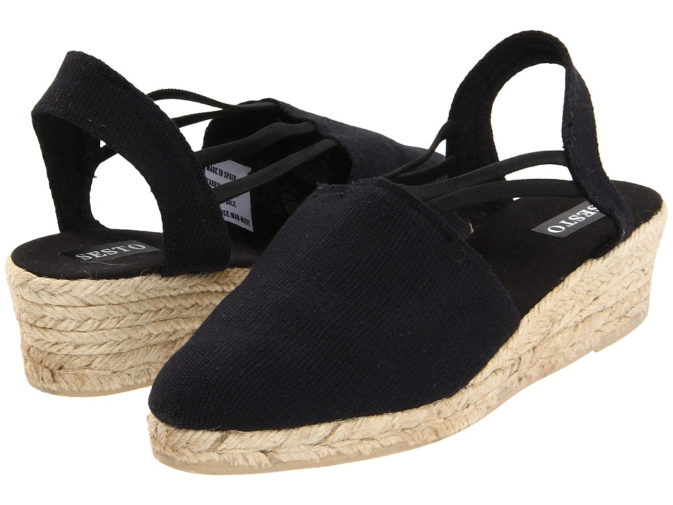 Sesto Meucci - 835 (Black Lona Lino) Women's Wedge Shoes