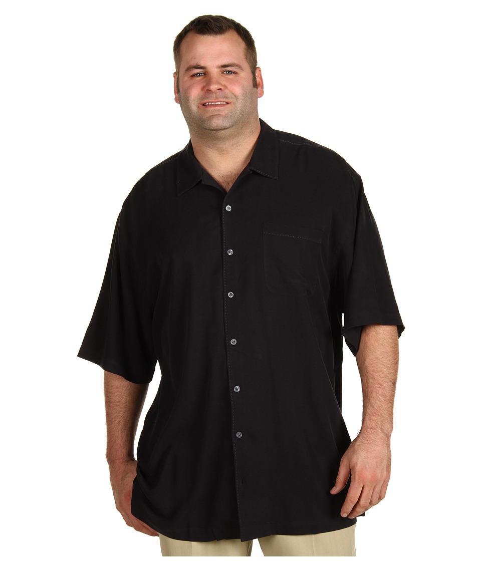 Tommy Bahama Big & Tall Big Tall Catalina Twill Camp Shirt Mens Short Sleeve Button Up (Black)