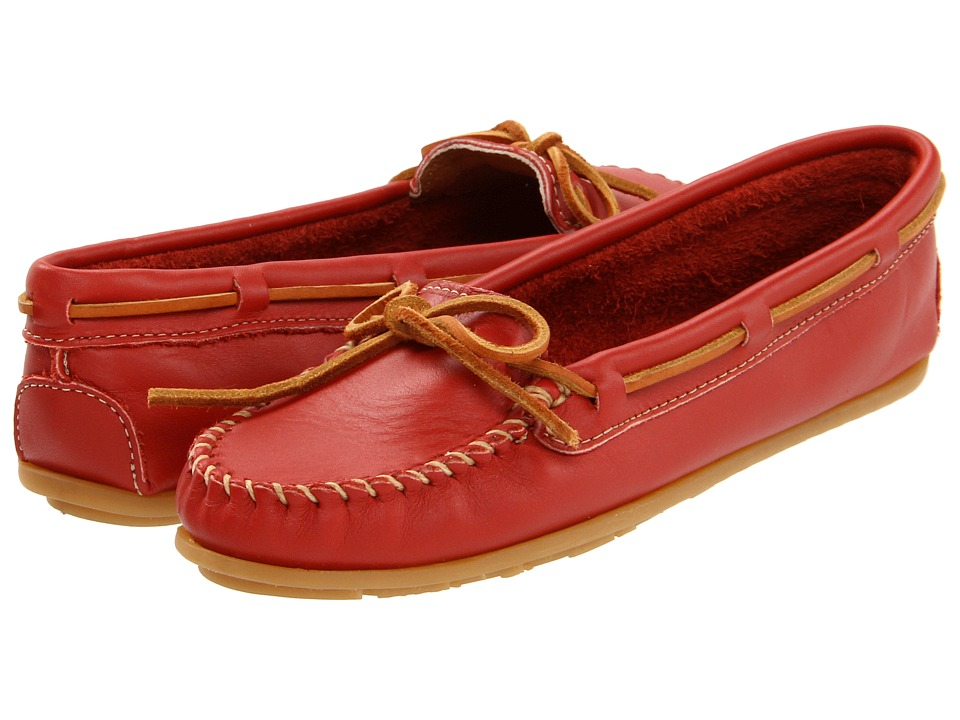 Minnetonka - Leather Moc (Red) Women's Moccasin Shoes