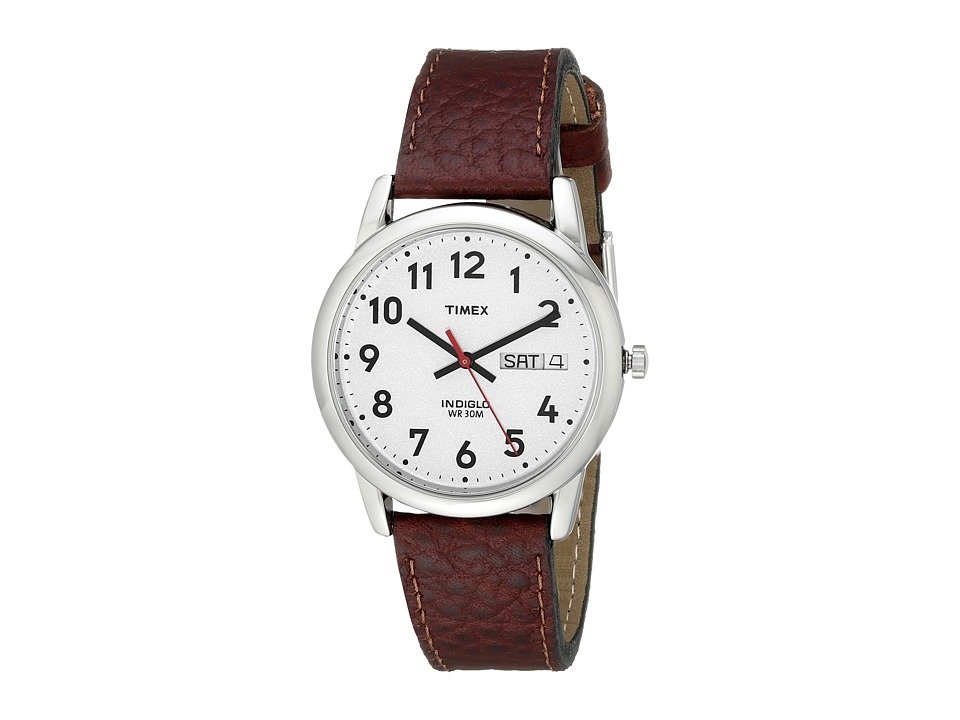 Timex - Easy Reader Brown Leather Watch #T20041 (Silver) Watches