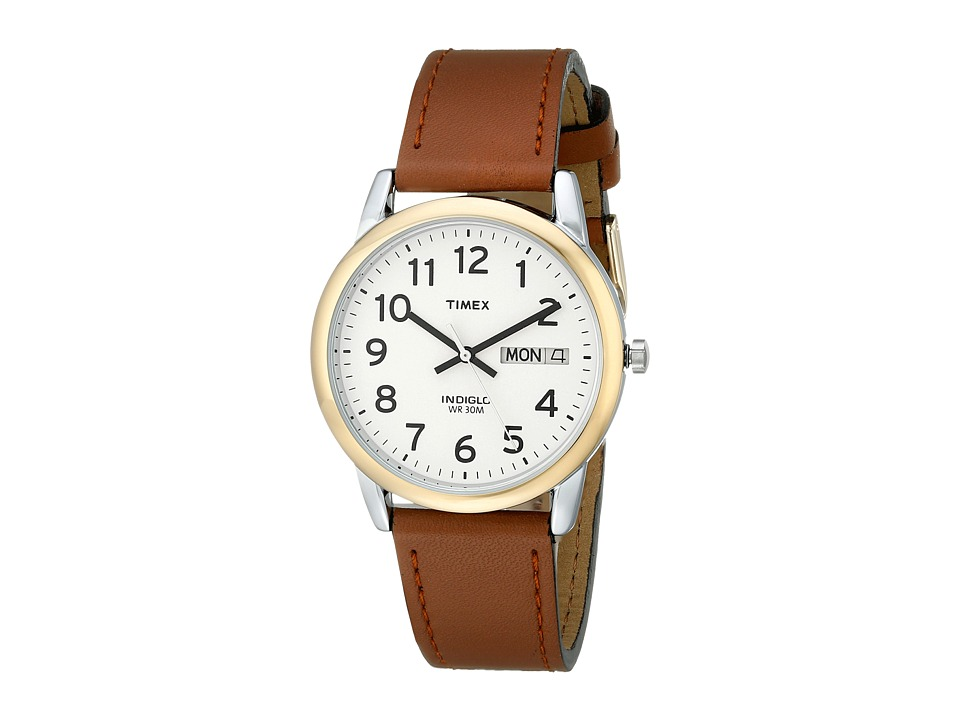 Timex - Easy Reader Brown Leather Watch #T20011 (Gold/Silver) Watches
