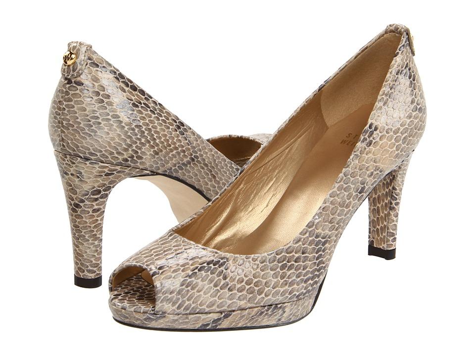 Stuart Weitzman - Logoplainfield (Mushroom Crystal Snake) Women's Toe Open Shoes