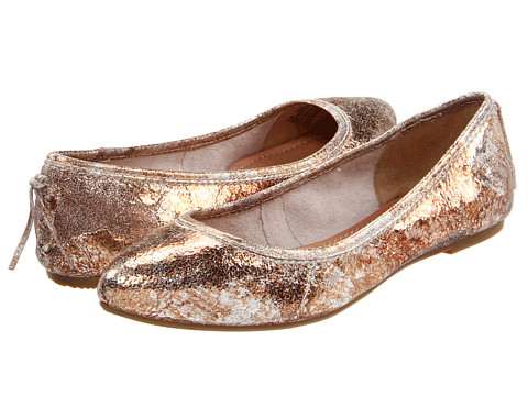 Frye - Regina Ballet (Rose Gold Metallic Cracked Leather) Women's Slip on Shoes