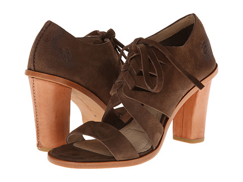 Frye - Sofia Tie On (Dark Brown Nubuck) High Heels