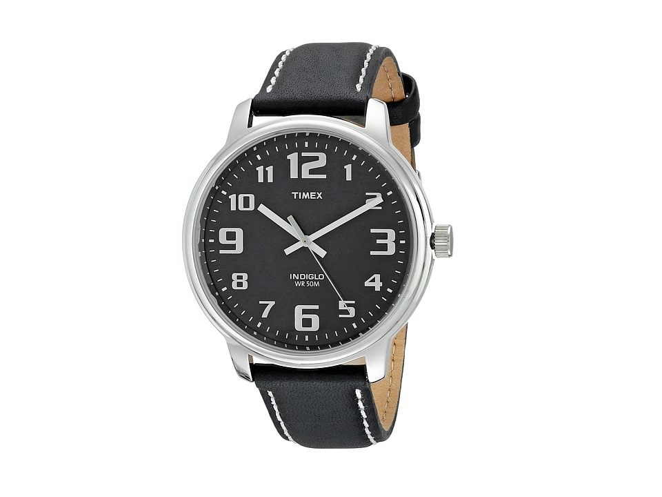Timex - Easy Reader Black Leather Watch (Silver) Watches