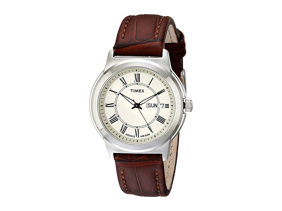 Timex - Classic Brown Leather Strap (Silver) Watches
