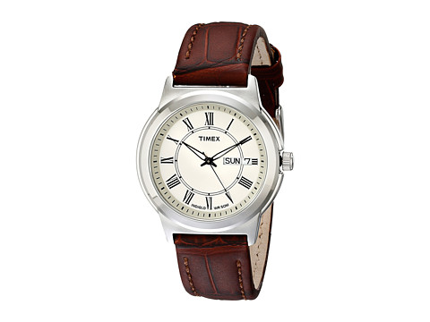 Timex Classic Brown Leather Strap (Silver) Watches
