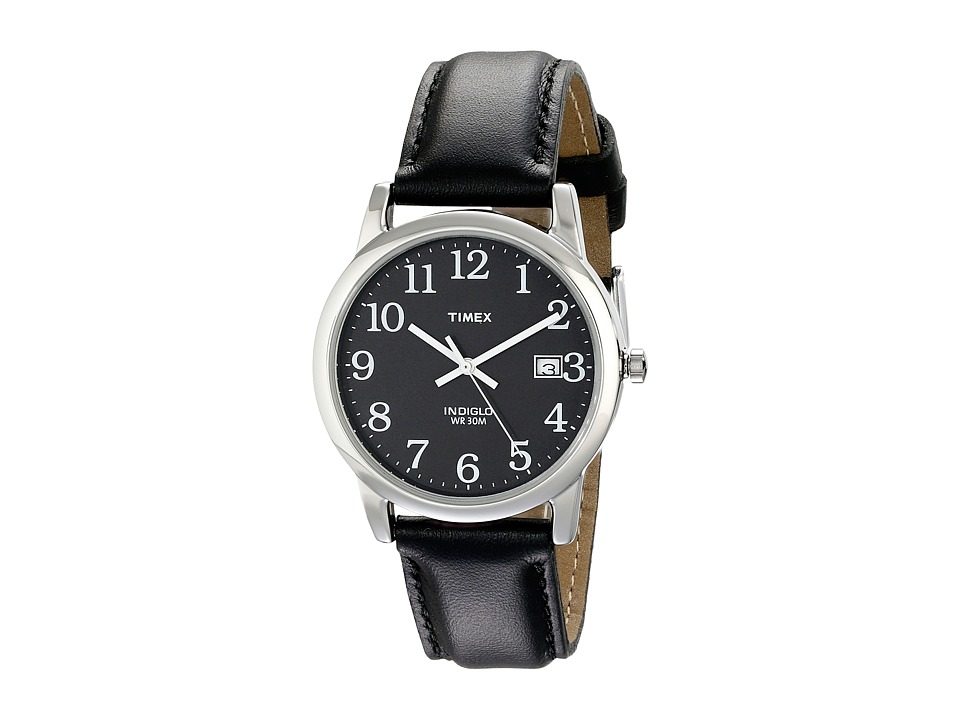 Timex - Classic EZRead Analog Silver Case Black Leather Strap Watch (Silver) Watches