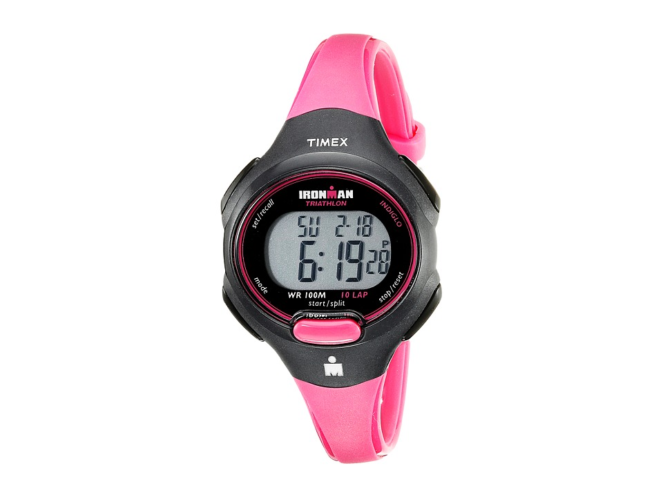 Timex - Sport Ironman Pink and Black Mid Size 10 Lap Watch (Black/Hot Pink) Watches