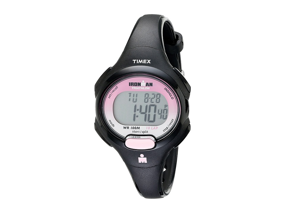 Timex - Sport Ironman Black and Pink Mid Size 10 Lap Watch (Black/Pink) Watches