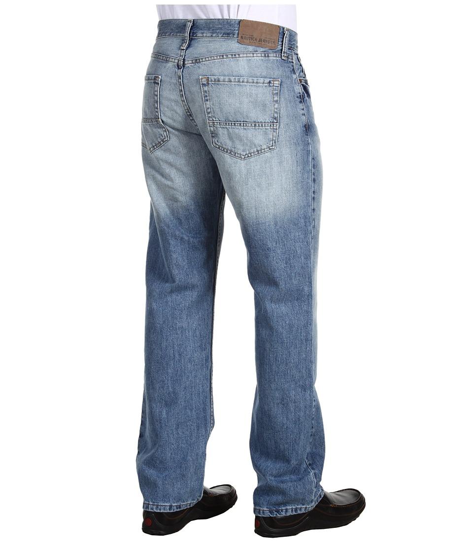 Nautica - Relaxed Fit Light Wash Cross Hatch Jean (Hoklin Blue) Men's Jeans