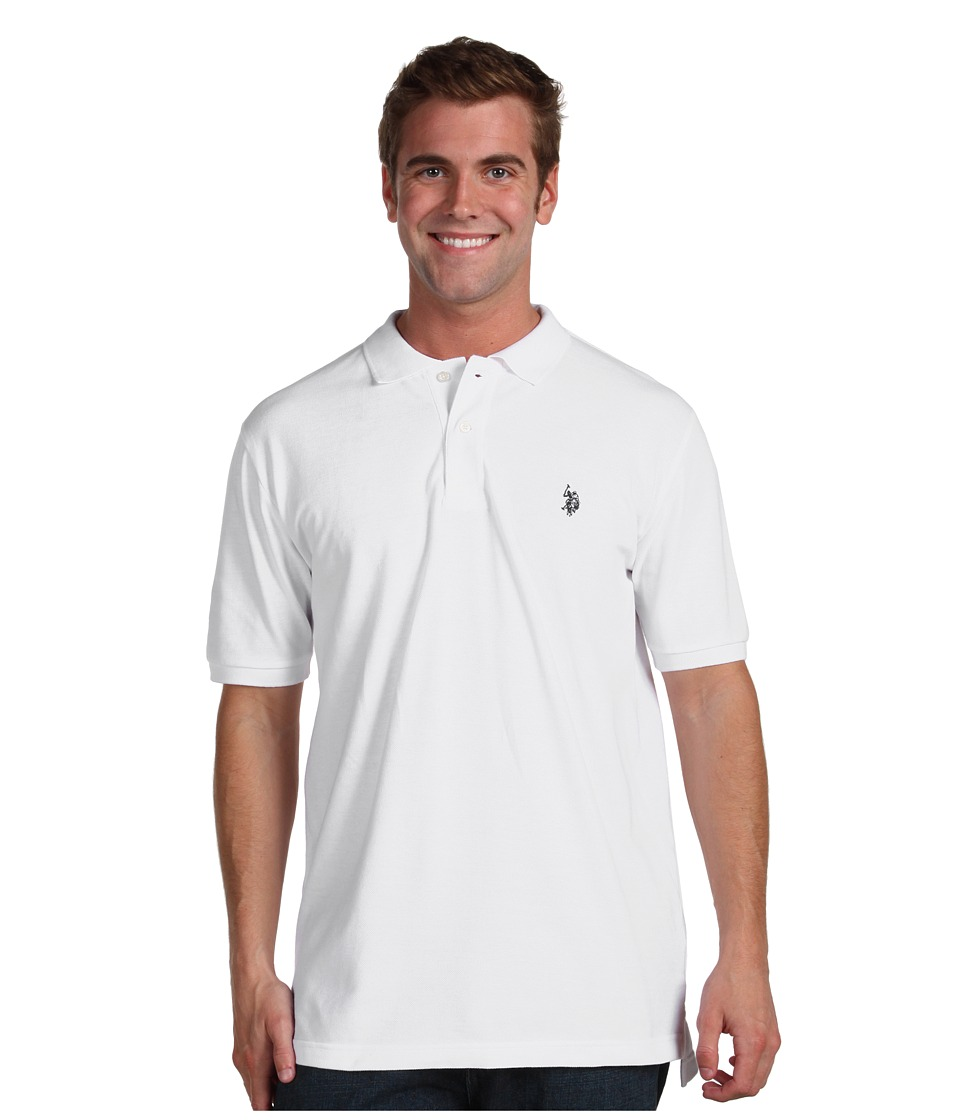 U.S. POLO ASSN. - Solid Cotton Pique Polo with Small Pony (White) Men's Short Sleeve Knit