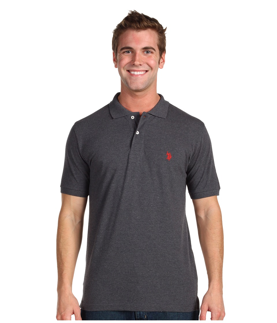 U.S. POLO ASSN. - Solid Cotton Pique Polo with Small Pony (Dark Grey Heather) Men's Short Sleeve Knit