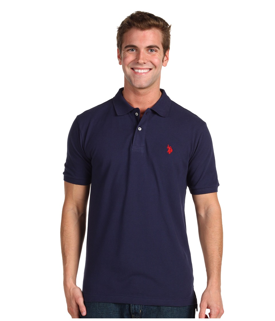 U.S. POLO ASSN. - Solid Cotton Pique Polo with Small Pony (Classic Navy) Men's Short Sleeve Knit