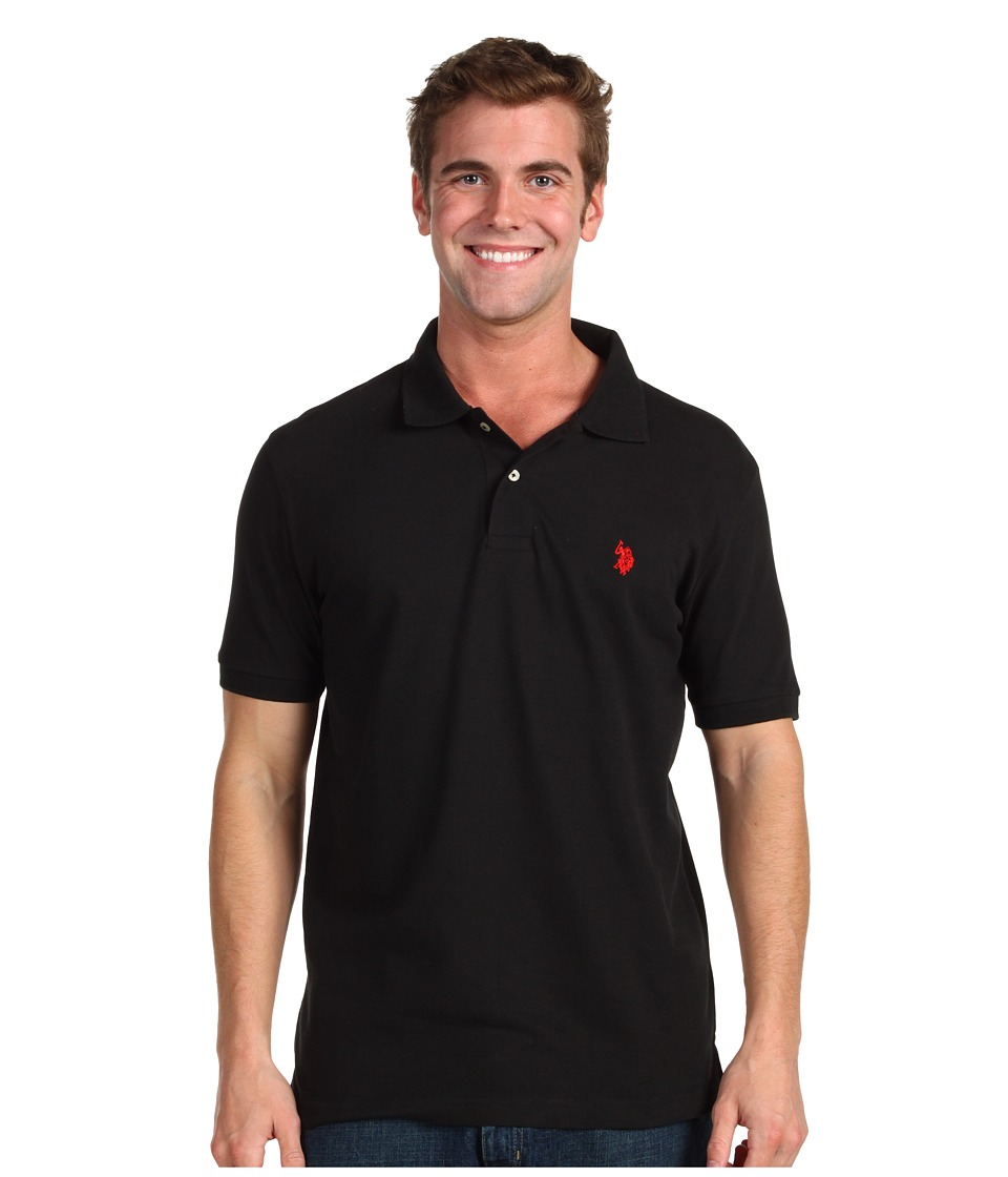 U.S. POLO ASSN. - Solid Cotton Pique Polo with Small Pony (Black) Men's Short Sleeve Knit
