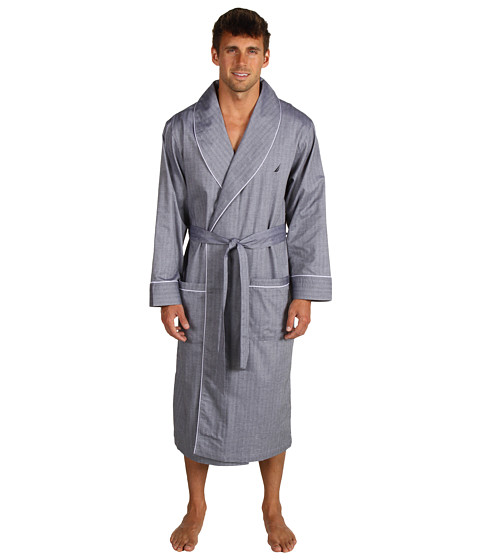 Nautica - Captain's Herringbone Robe (Anthracite) Men's Robe