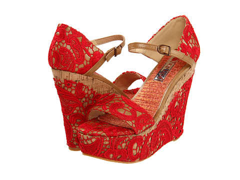 Two Lips Bamboo (Red) Women's Wedge Shoes
