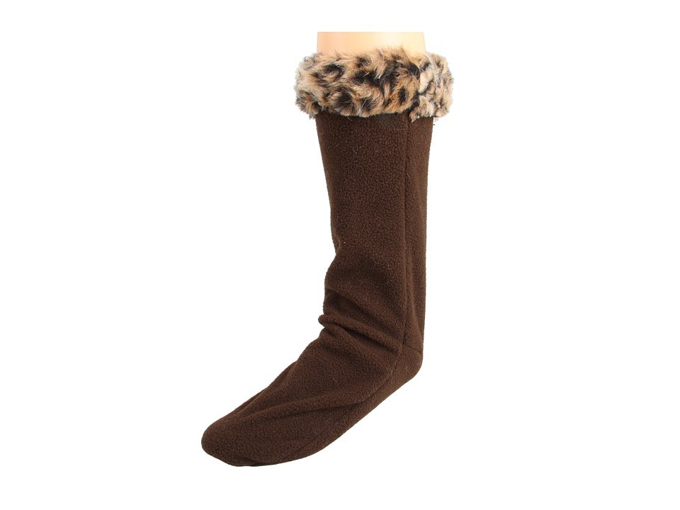 Betsey Johnson - Fur Cuff Calf Length Welly Sock (Camel Leopard) Women's Crew Cut Socks Shoes