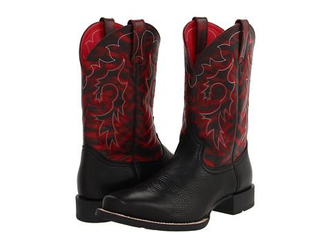 Ariat - Heritage Reinsman (Black Deertan/Maroon Brush Off) Cowboy Boots