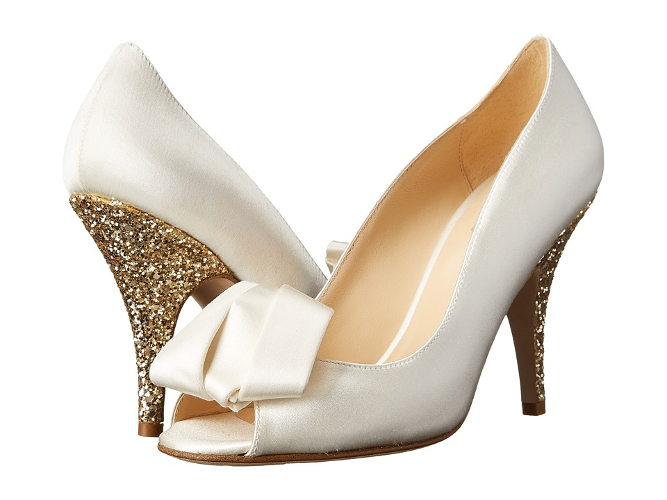 Kate Spade New York - Clarice (Ivory Satin/Gold Glitter) Women's Toe Open Shoes
