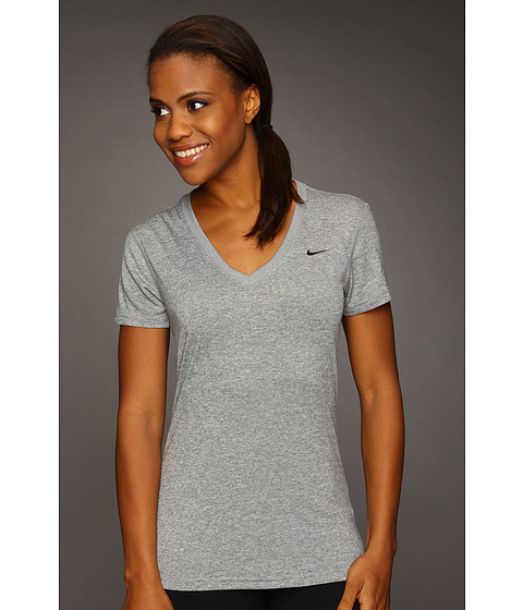 Nike - Regular Legend Short-Sleeve V-Neck (Dark Grey Heather/White) Women's Short Sleeve Pullover