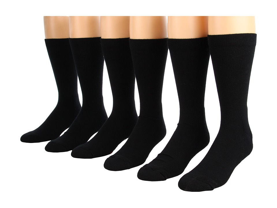 Fox River - Work and Weekend Crew 6-Pair Pack (Black) Crew Cut Socks Shoes