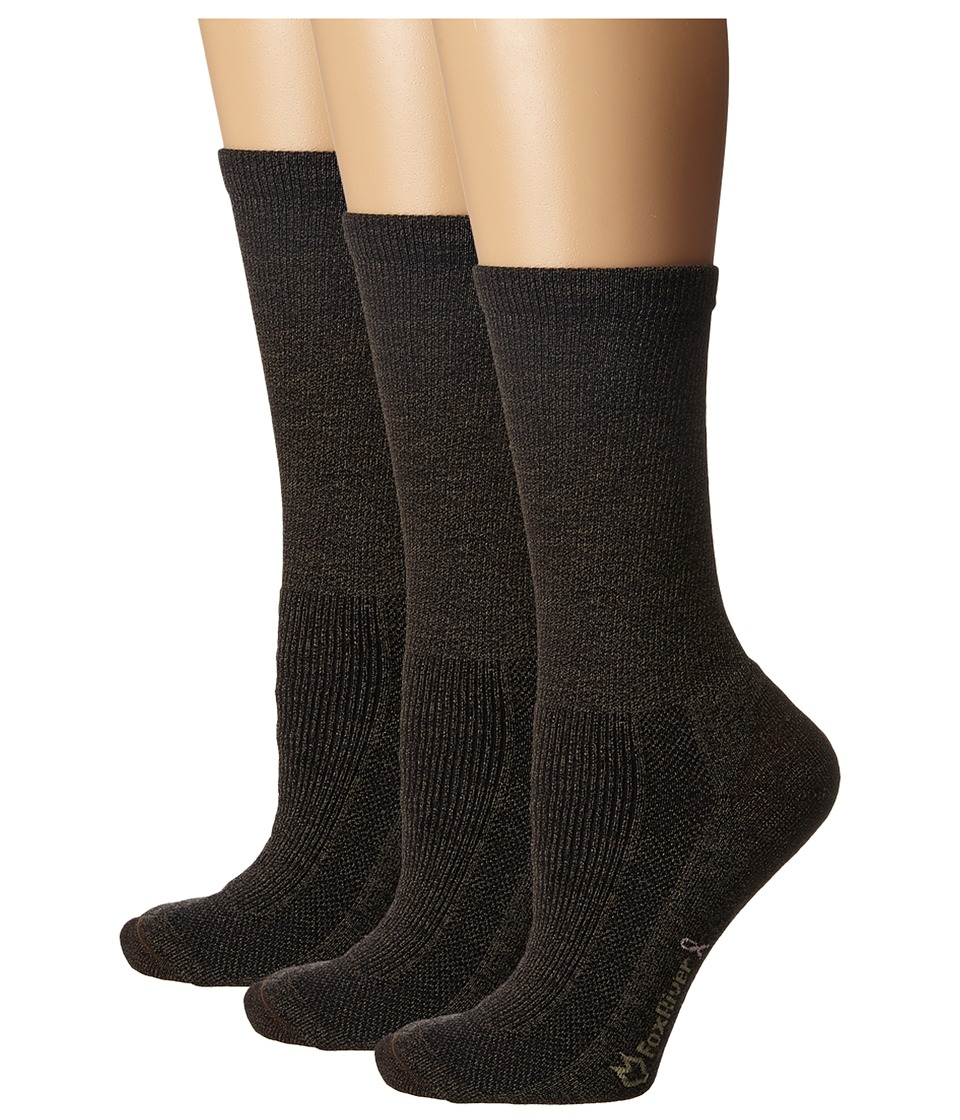Fox River - Merino Hiking Crew 3-Pair Pack (Brown Heather) Women's Crew Cut Socks Shoes