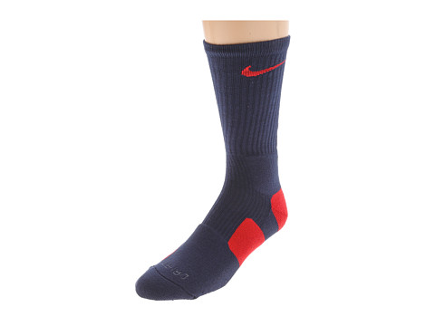 Nike - Nike Elite Basketball Crew 1-Pair Pack (College Navy/University Red/(University Red)) Crew Cut Socks Shoes