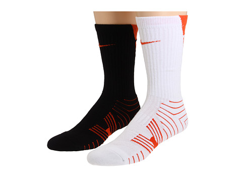 Nike - Performance Football Crew 2-Pair Pack (White/(Team Orange)/Black/(Team Orange)) Crew Cut Socks Shoes