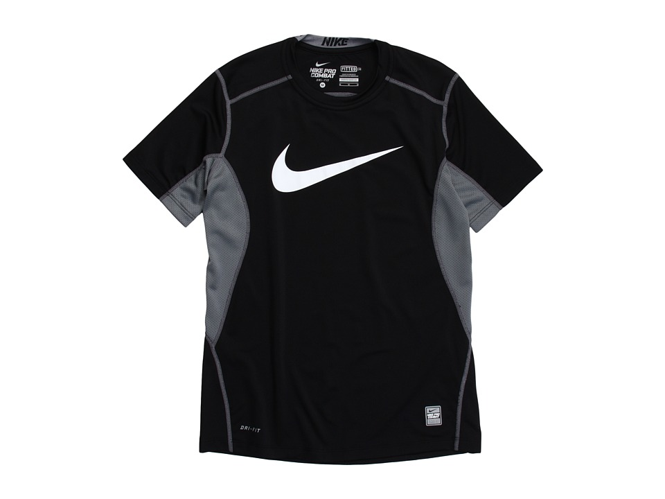 Nike Kids - NPC Core Fitted Swoosh Top (Little Kids/Big Kids) (Black/Flint Grey/White) Boy's T Shirt