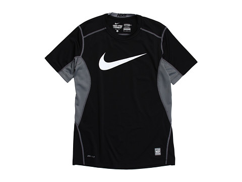 Nike Kids - NPC Core Fitted Swoosh Top (Little Kids/Big Kids) (Black/Flint Grey/White) Boy