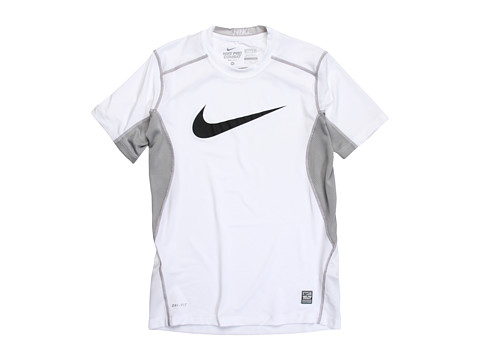 Nike Kids - NPC Core Fitted Swoosh Top (Little Kids/Big Kids) (White/Matte Silver/Black) Boy