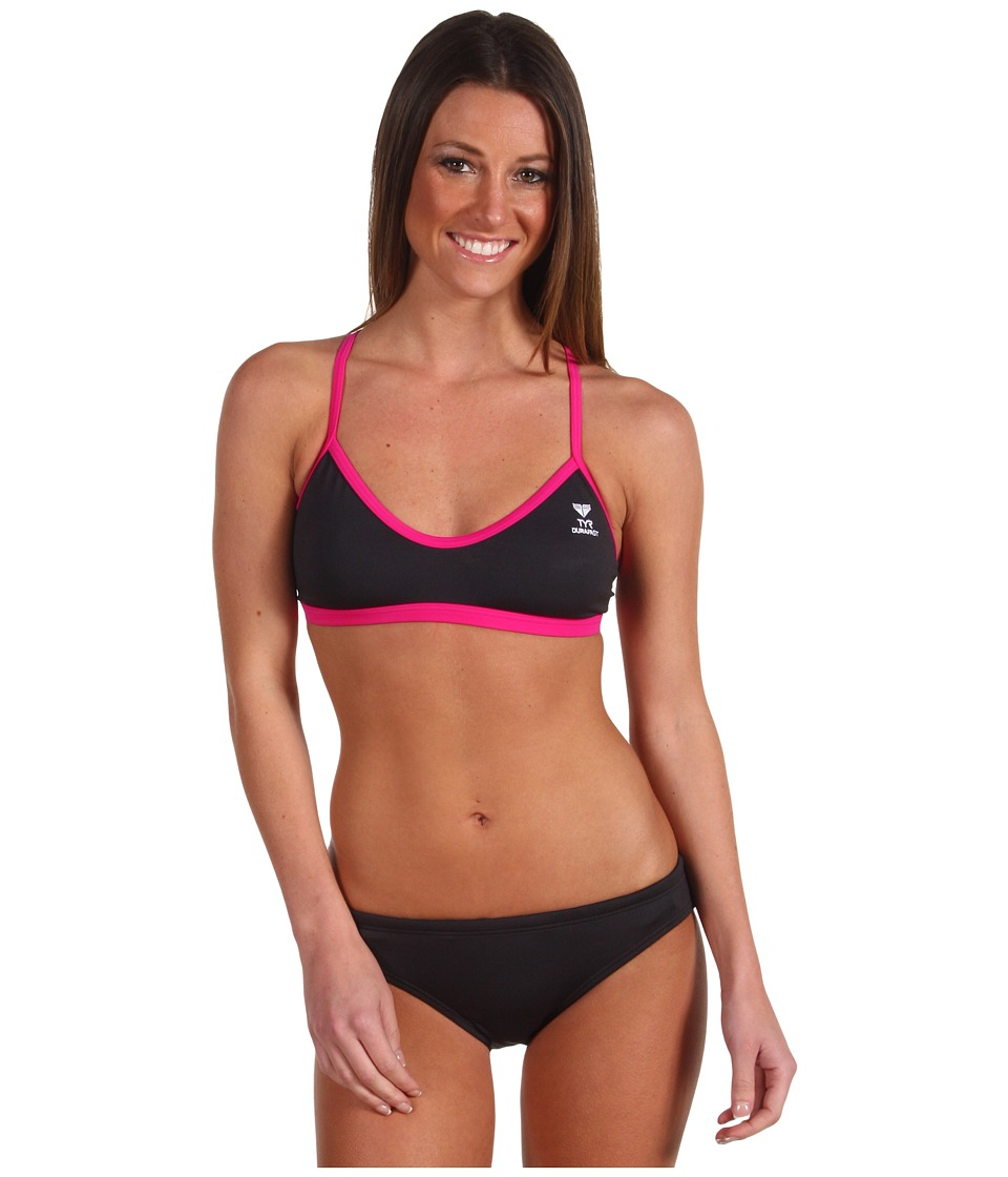 TYR Durafasttm Elite Solid Workout Bikini (Grey/Pink) Women