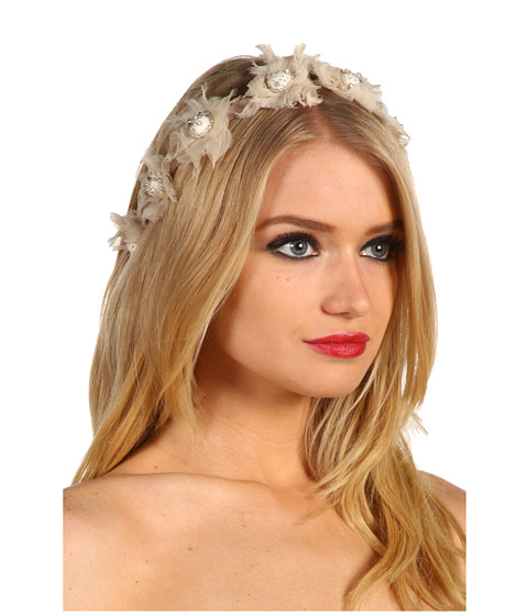 Jane Tran - Chiffon Flower Garland Headband (Beige) Hair Accessories