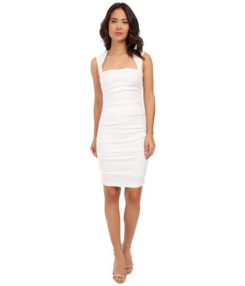 Nicole Miller - Stretch Linen Cutout Back Dress (White) Women
