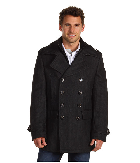 7 Diamonds - Glasgow Peacoat (Charcoal) Men's Coat