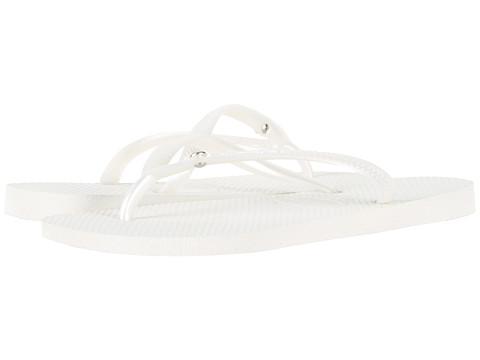 Havaianas - Slim Crystal Glamour SW Flip Flops (White) Women