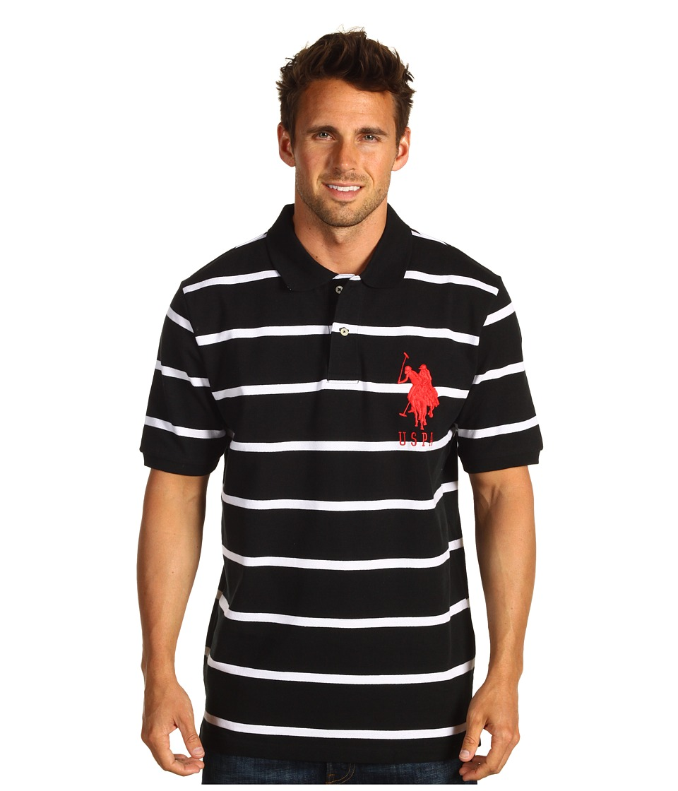 U.S. POLO ASSN. - 2 Color Narrow Stripe Polo (Black/ White) Men's Short Sleeve Knit