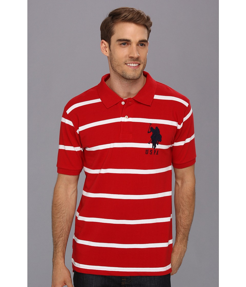 U.S. POLO ASSN. - 2 Color Narrow Stripe Polo (Red/ White) Men's Short Sleeve Knit