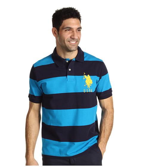 U.S. POLO ASSN. - 2 Color Wide Stripe Polo (Turq Blue/ Navy) Men