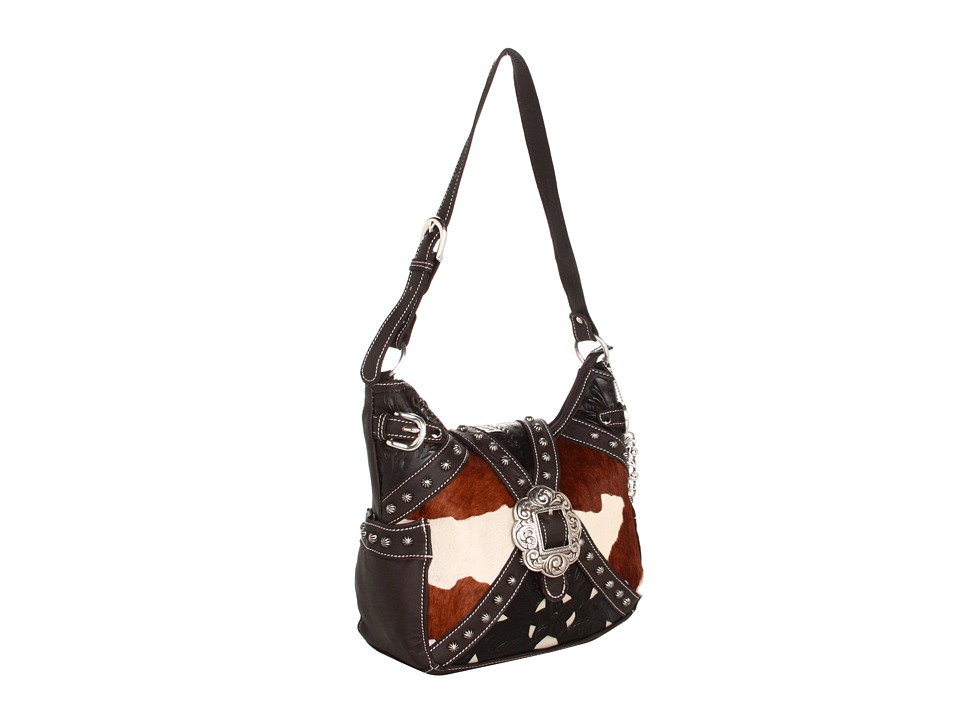 American West - Prairie Rose Hobo (Brown/Cr me Hair On) Handbags