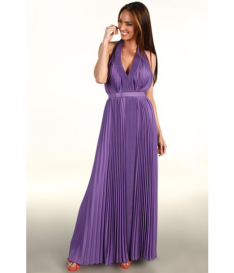 Halston Heritage - Pleated V-Neck Gown With 1 Self Belt (Violet) Women