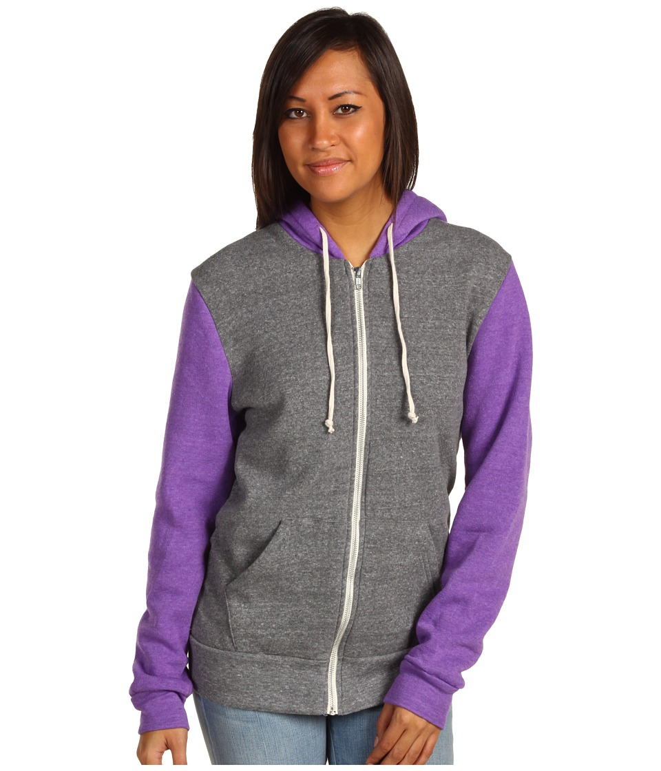 Alternative - Butler Colorblock Hoodie (Eco Grey/Eco True Purple) Women's Fleece