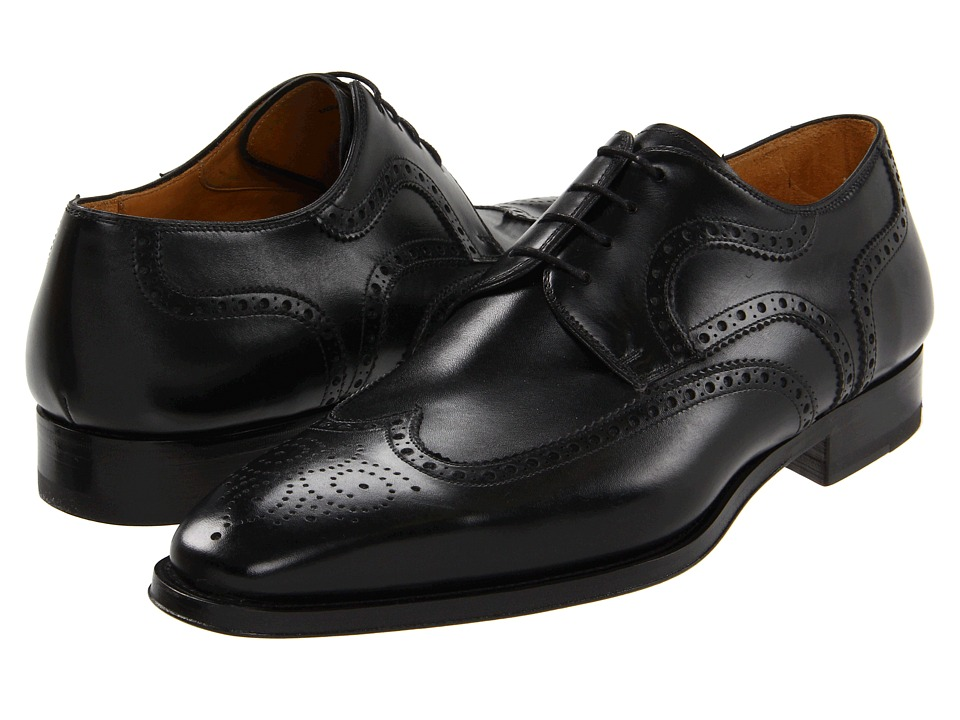 Magnanni - Sergio (Black) Men's Lace Up Wing Tip Shoes