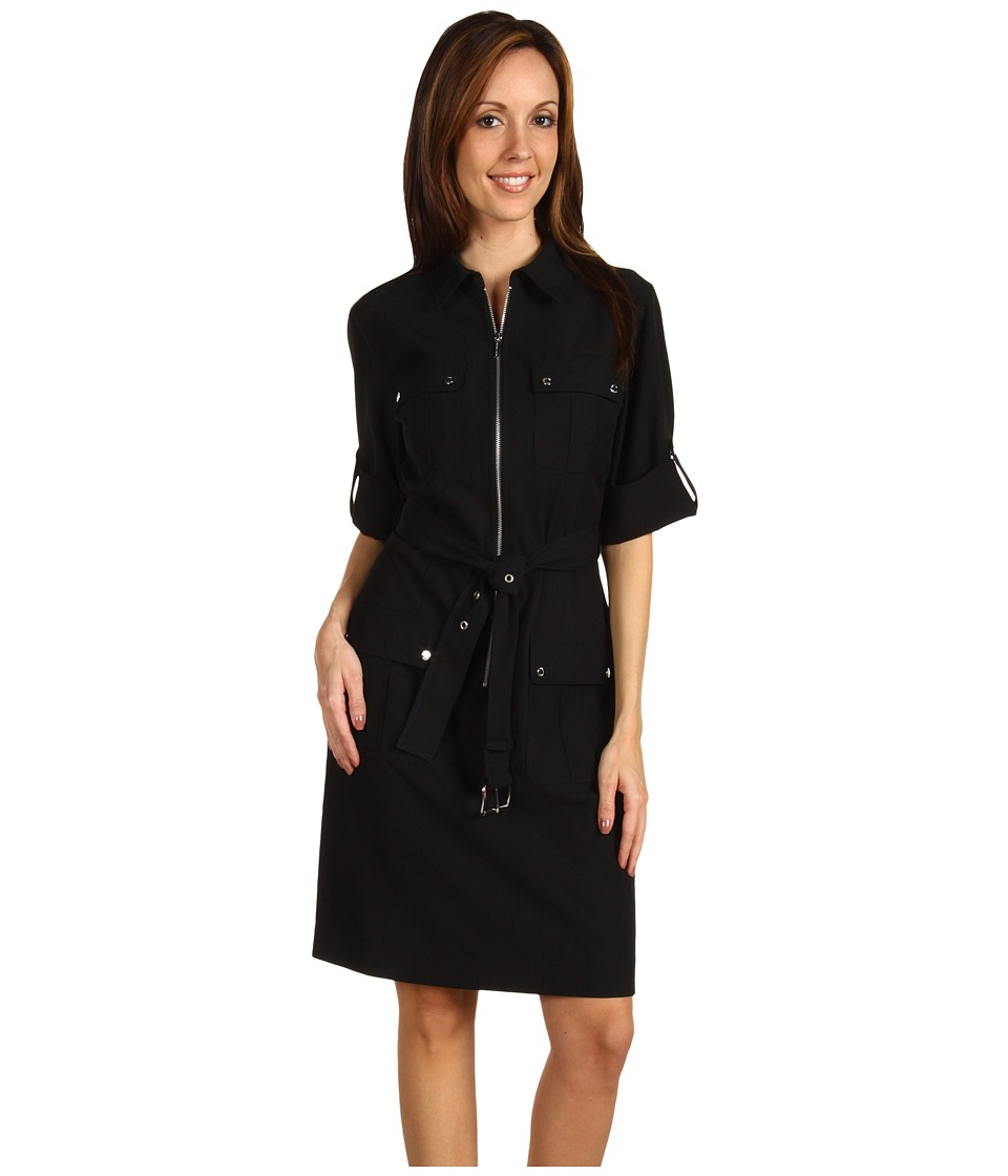 MICHAEL Michael Kors - Amirage Roll Sleeve Belted Dress (Black) Women's Dress